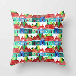 Watercolor houses Throw Pillow