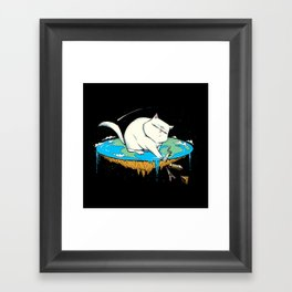 Flat Earth Cat Framed Art Print