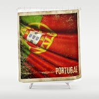 sticker Shower Curtains featuring Portugal grunge sticker flag by Lulla