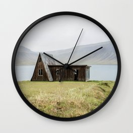 House in front of the lake Wall Clock