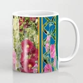 PINK HOLLYHOCKS & YELLOW  BUTTERFLIES TEAL Coffee Mug