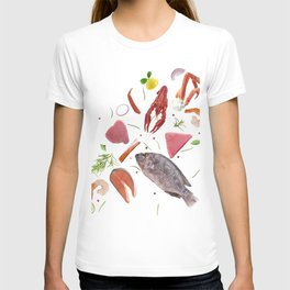 Seafood mix  isolated on white background. T-shirt