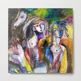 Two Woman and Horses, nude figurative portrait painting Metal Print
