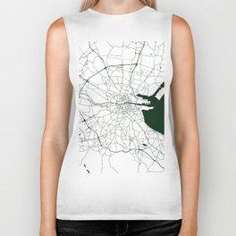 White on Dark Green Dublin Street Map Biker Tank