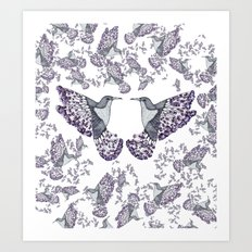 Blossom Humming Bird Pattern Art Print