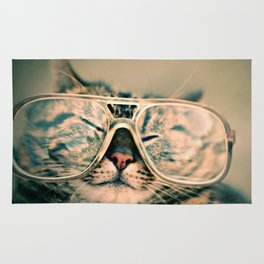 Sosy Cat with Glasses Rug