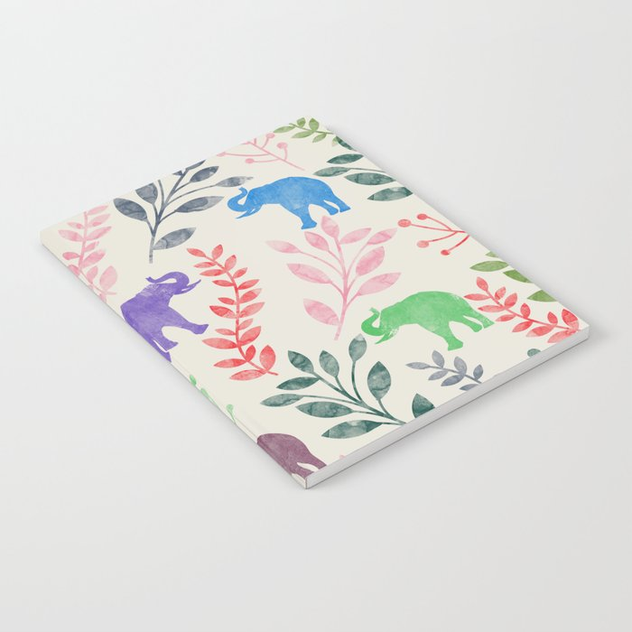 Watercolor Flowers & Elephants Notebook