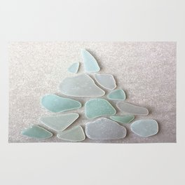 Sea Foam Sea Glass Christmas Tree #Christmas #seaglass Rug