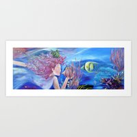 Painting. Ocean. Fish. Blu. Art Print