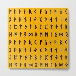 Nordic Runes // Orange Metal Print