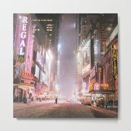New York City Colorful Snowy Night in Times Square Metal Print