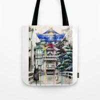 spirited away Tote Bags featuring Spirited Away by Sandra Ink
