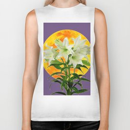 EASTER LILIES ON LILAC GOLDEN MOON ABSTRACT Biker Tank