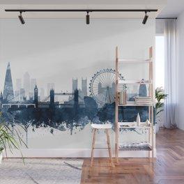 London City Skyline Blue Watercolor by zouzounioart Wall Mural