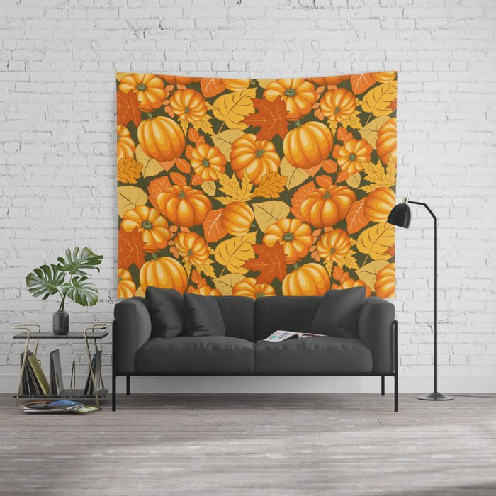 Pumpkins and Autumn Leaves Party Wall Tapestry