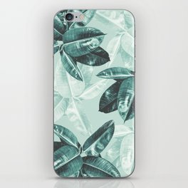 Tropical Leaves Photograph Turquoise | Banana Leaf Pattern iPhone Skin