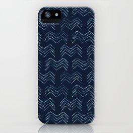 Indigo Tie Dye Batik Chevron Drawn Organic iPhone Case