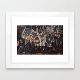 Roofs of magic town Framed Art Print