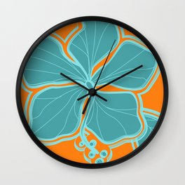 Kailua Hibiscus Hawaiian Engineered Floral Wall Clock
