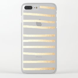 Simply Drawn Stripes Golden Copper Sun Clear iPhone Case