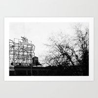 portlandia Art Prints featuring Portlandia - White Stag Sign by Kyle J. Glenn