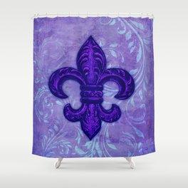 Purple Fleur de Lis Shower Curtain