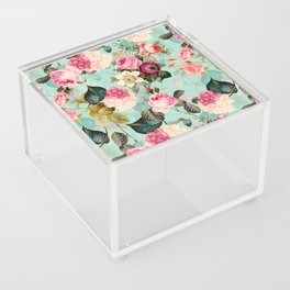 Vintage & Shabby Chic - Summer Teal Roses Flower Garden Acrylic Box