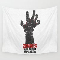 zombies Wall Tapestries featuring Zombies Eat Brains by I am a graphic designer
