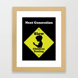Next Generation-Slow children texting Framed Art Print