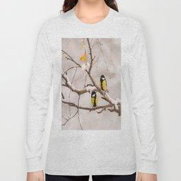 Lovely Songbirds on a Snowy Branch #decor #buyart #society6 Long Sleeve T-shirt