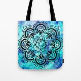 Galaxy Mandala Aqua Indigo Tote Bag