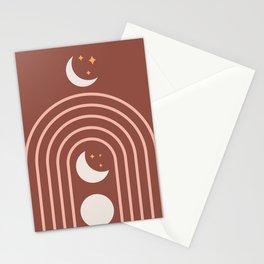 Midcentury Moon Phase Rainbow Stationery Cards