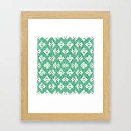 Mid Century Modern Bang Pattern 271 Green Beige Framed Art Print