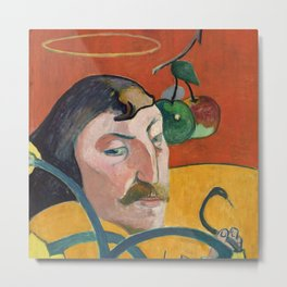 """Paul Gauguin """"Self-Portrait with Halo and Snake"""" Metal Print"""