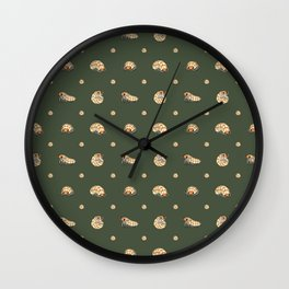 Roly Poly Party! Peach on Green Wall Clock