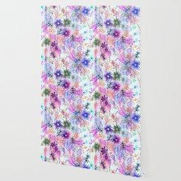 Eden Floral Multi White Wallpaper