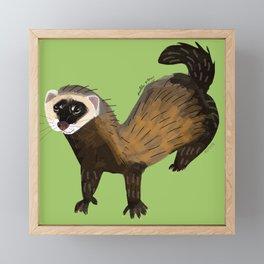 Brave Polecat ( Mustela putorius ) Framed Mini Art Print