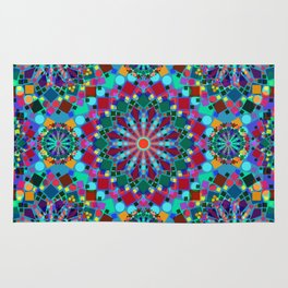Colorful Geometric Mandala Rug