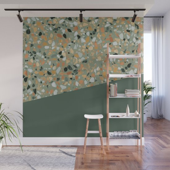 Terrazzo Texture Military Green #4 by printablespassions