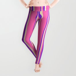Purple, Bisque, and Hot Pink Colored Stripes Pattern Leggings