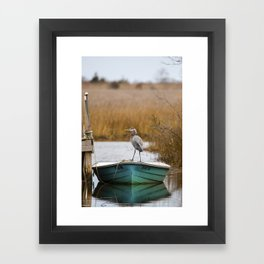 Great Blue Heron on Fishing Boat Framed Art Print