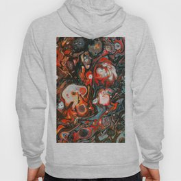 Fluid Art Acrylic Painting, Pour 22, Red, Gray, Black, & White Blended Color Hoody