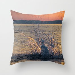 Drops of water on the sea Throw Pillow