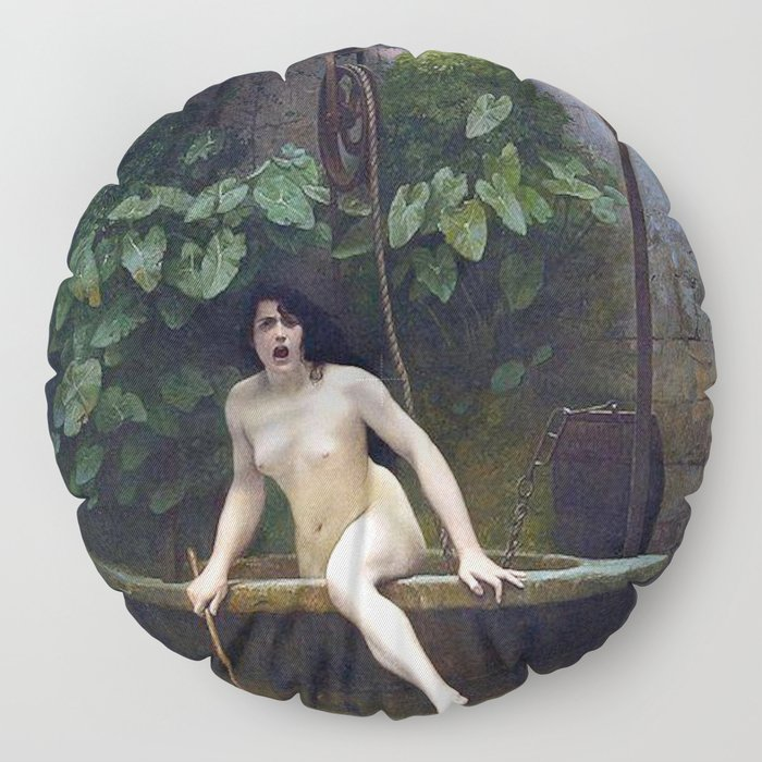 TRUTH COMING OUT OF HER WELL TO SHAME MANKIND - JEAN-LEON GEROME Floor Pillow