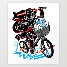 Darth Vader and R2D2 Shredding! Art Print