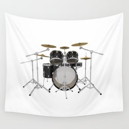 Black Drum Kit Wall Tapestry
