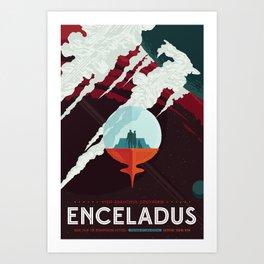NASA Retro Space Travel Poster #3 - Enceladus Art Print