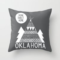 oklahoma Throw Pillows featuring Oklahoma by Ashley Love