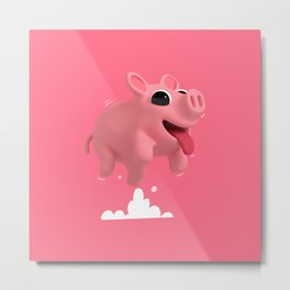 Rosa the Pig Jumps Metal Print