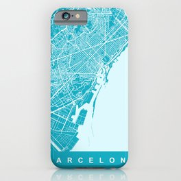 Barcelona Map Spain | Blue & Cyan | More Colors, Review My Collections iPhone Case